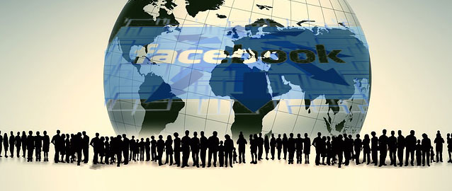 people looking at world dominated by Facebook